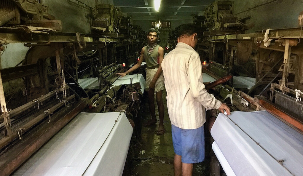 Workers at a textile company in India.