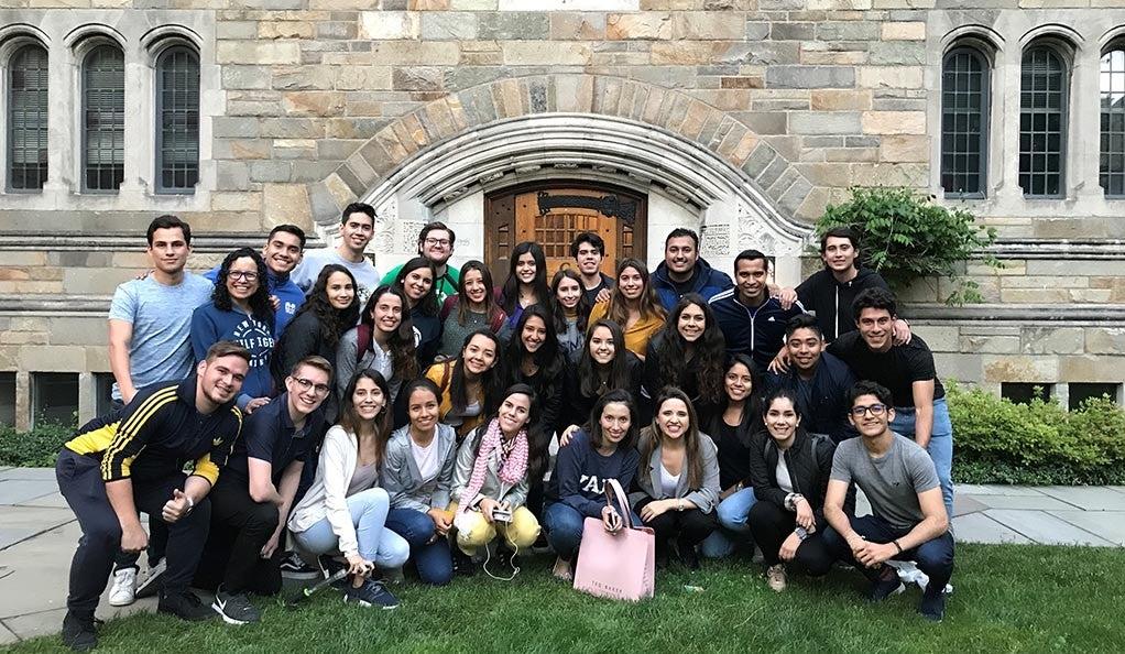 Ambassadors from Tecnológico de Monterrey visiting the Yale campus.