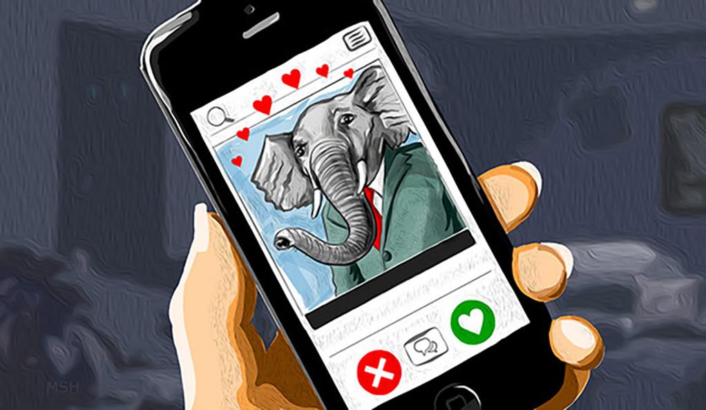 Smartphone displaying a dating app with a Republican-style elephant profile picture