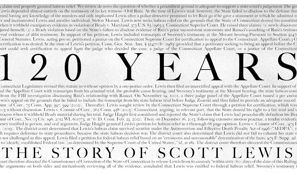 120 YEARS movie poster. Text: 120 YEARS, The Story of Scott Lewis