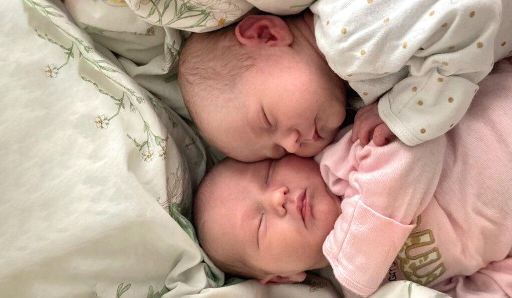 Twin babies sleeping.