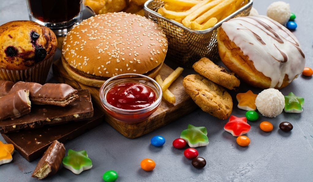 fatty and carbohydrate-heavy junk foods