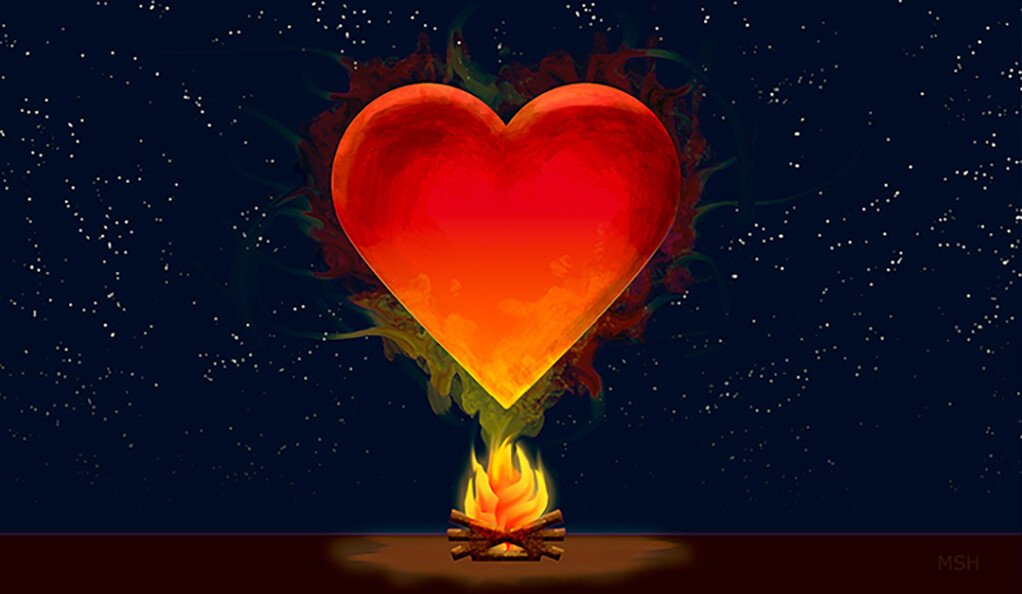 An illustration of a campfire with a large romantic heart above it.