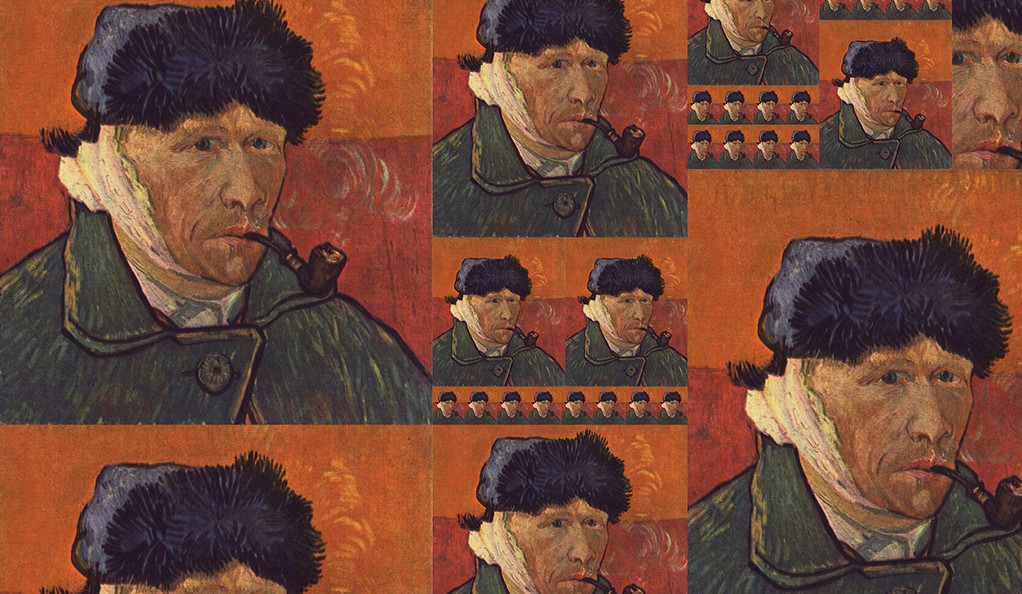 A collage made up of Vincent Van Goughs self-portrait repeated with different sizes.