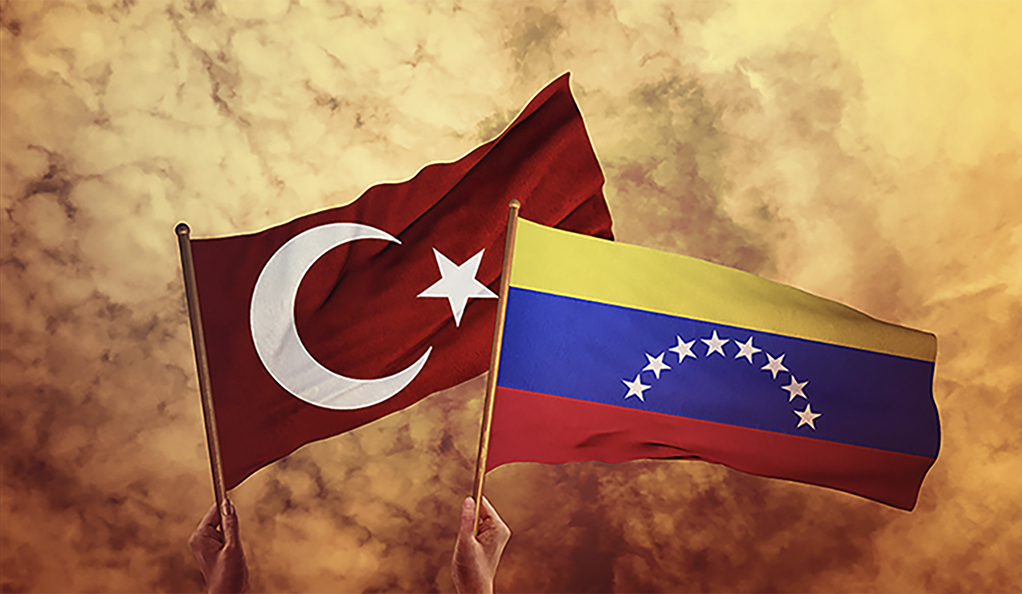 Turkish and Venezuelan flags held aloft