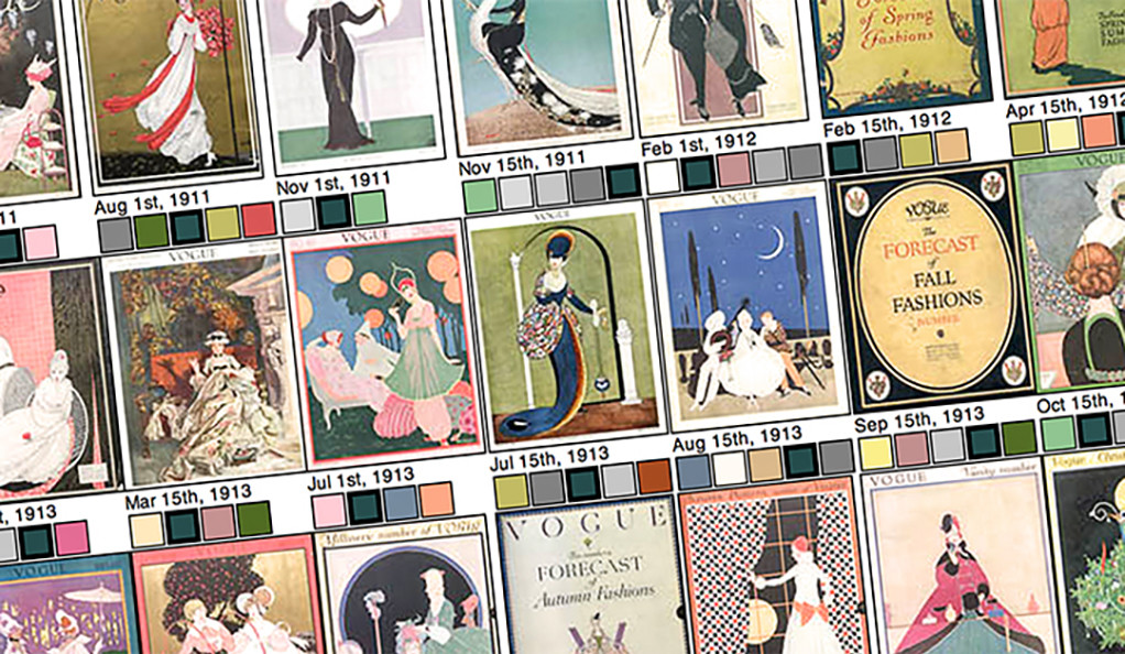 A collage of Vogue magazine covers from the early 20th century.