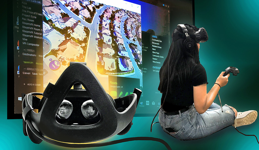 A collage featuring a virtual reality headset, a woman using one, and a VR display screen.