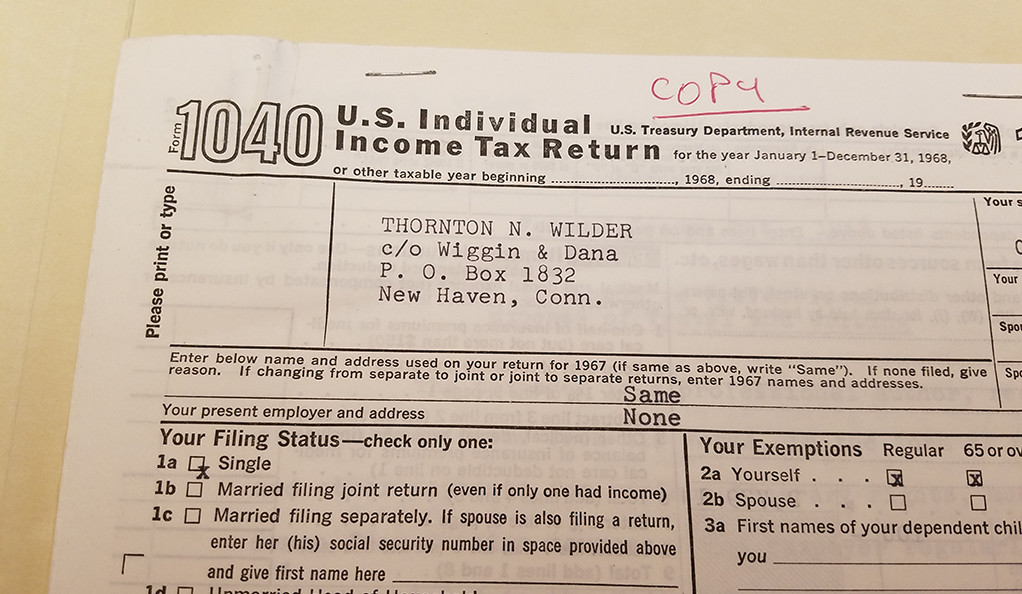 A copy of the playwright Thornton Wilder's 1040 tax form from 1968