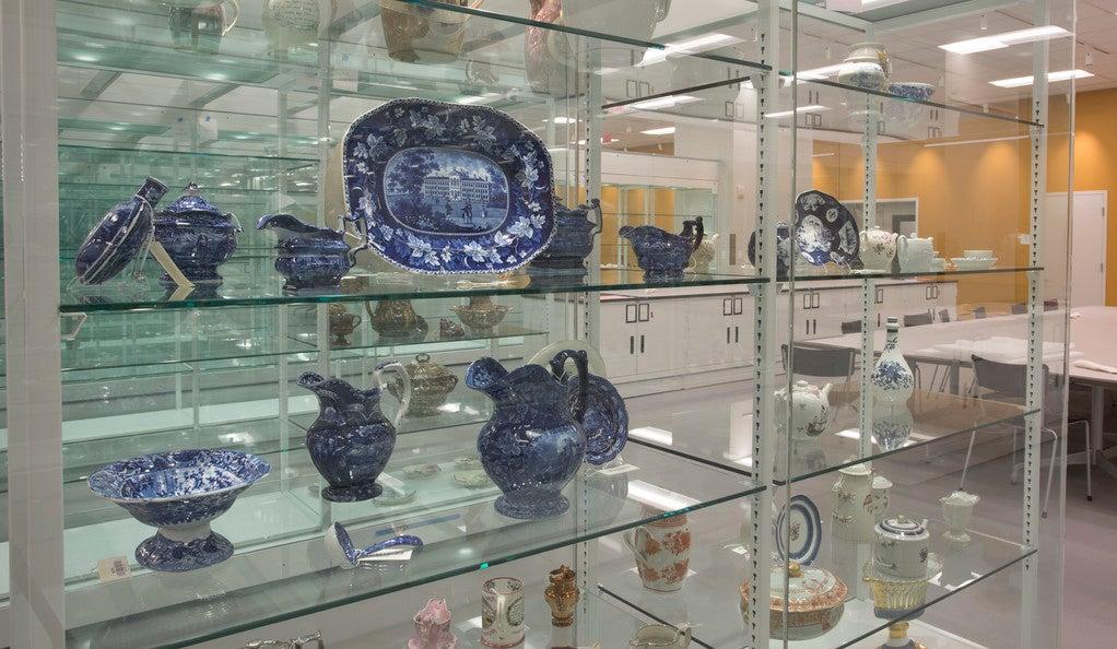 Shelves of blue and white ceramics