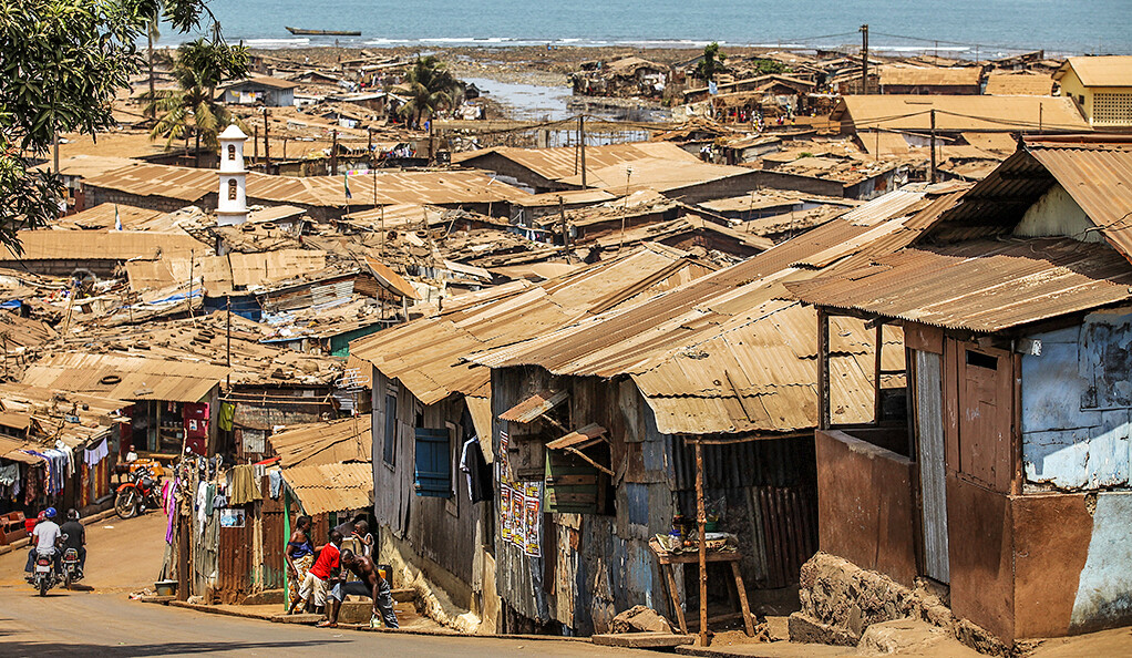 A township near the coast of Freetown, Sierra Leone, West Africa.