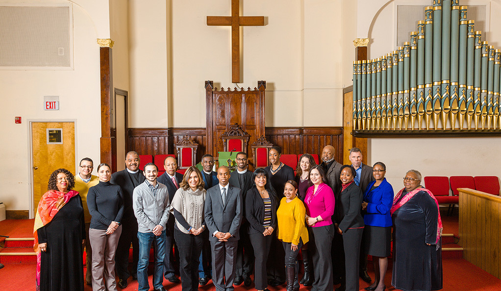 Yale Cultural Ambassadors Program participants posing in AME Zion church.