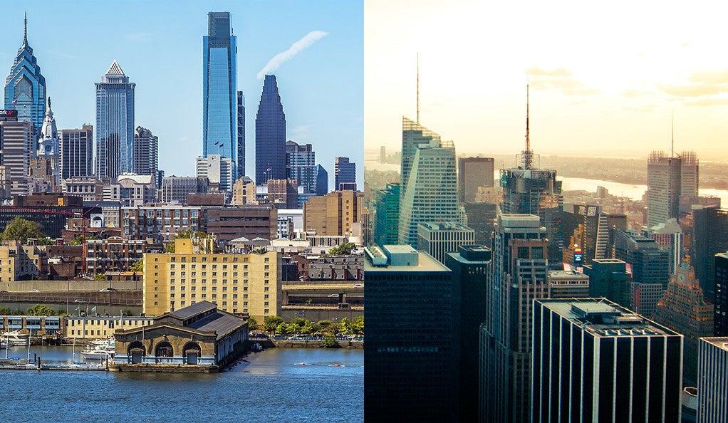 Philadelphia and New York City skylines