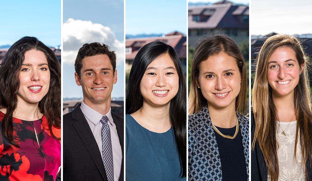 Knight-Hennessy Scholars Vivienna Hay, Jeremy Hutton, Diana Li, Zoe Weinberg, and Leehi Yoha