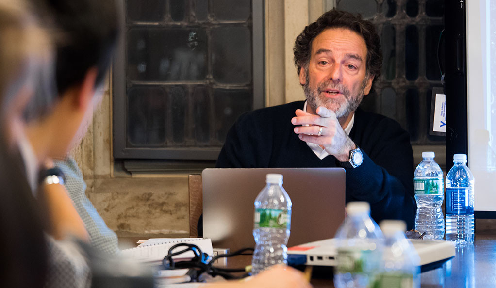 """Joel Benenson, Hillary Clinton's chief strategist and Barack Obama's lead pollster, at a spring """"Off the Record"""" class."""