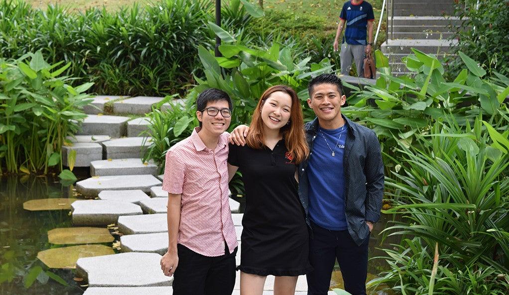 Yale students Kento Tanaka, Meng Fei Shen, and Nguyen Dustin Vu Anh at Yale-NUS