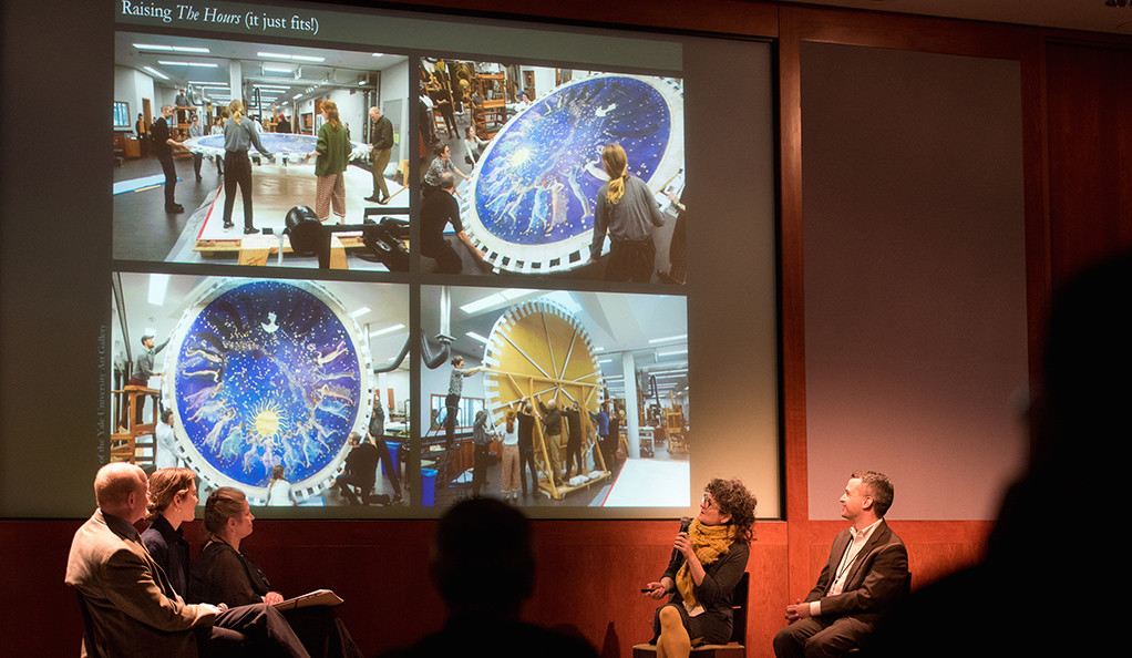 A team from the Yale Art Gallery and the Institute for the Preservation of Cultural Heritage presenting on an Abbey work.