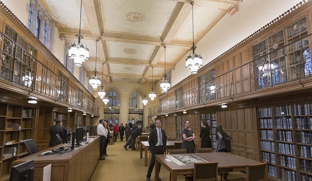 Yale's Manuscripts and Archives Department reading room, with the painted ceiling visible.