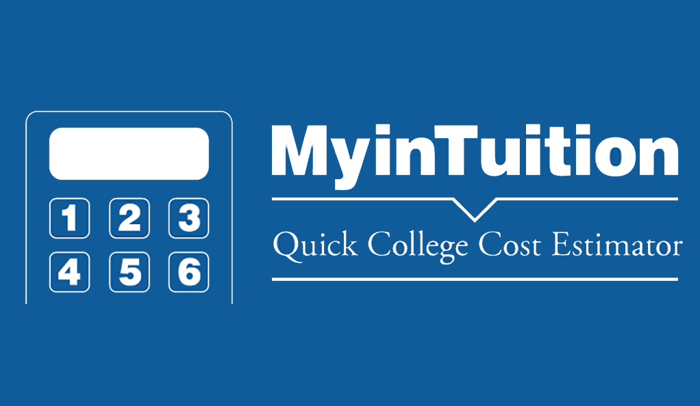 A graphic depicting a calculator used to estimate the cost of college.