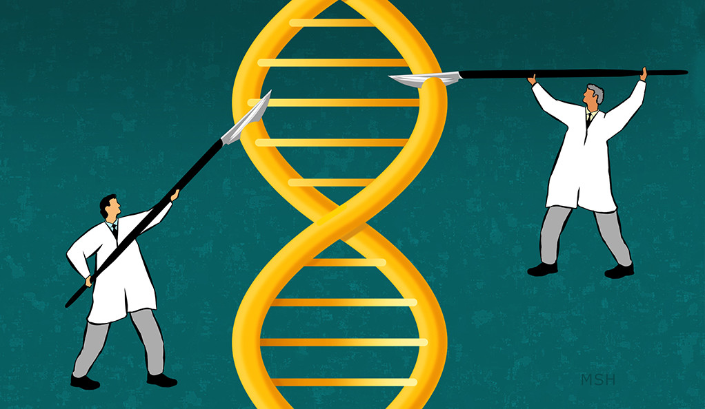 An illustration of two slicing a giant DNA strand with big scalpels.