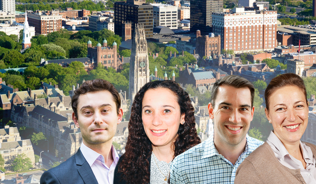 Blavatnik Fellows Sorin Fedeles, Ph.D.; Caroline Rufo, Ph.D.; Timothy Siegert, Ph.D.; and Milica Vukmirovic, Ph.D.