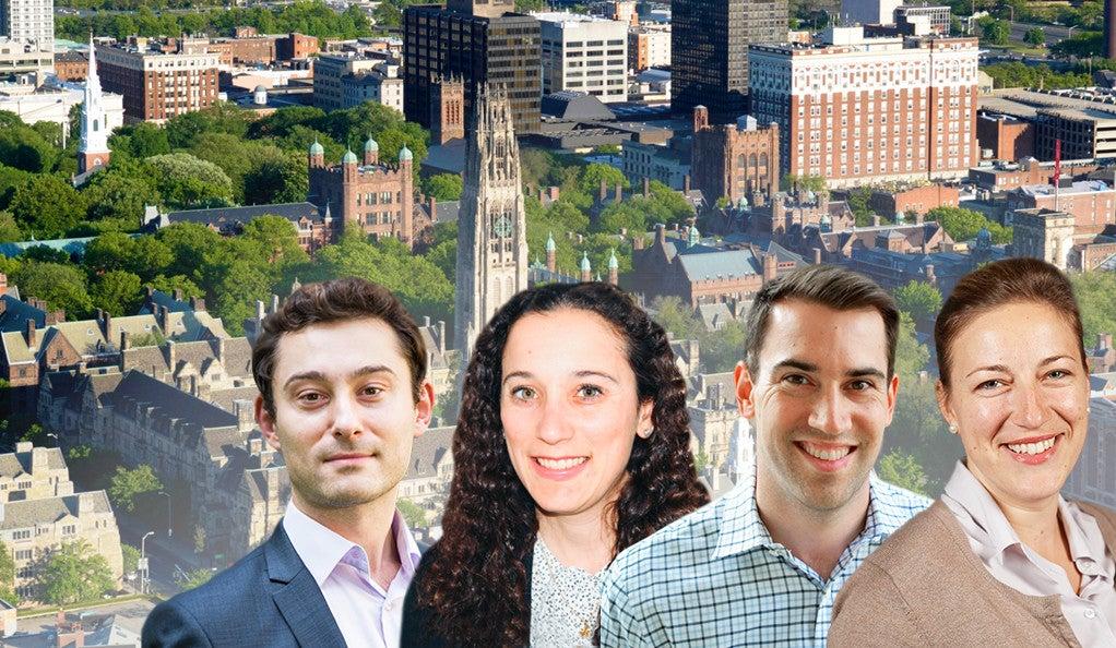 Blavatnik Fellows Sorin Fedeles, Ph.D.; Caroline Rufo, Ph.D.; Timothy Siegert, Ph.D.; and Milica Vukmirovic, Ph.D.