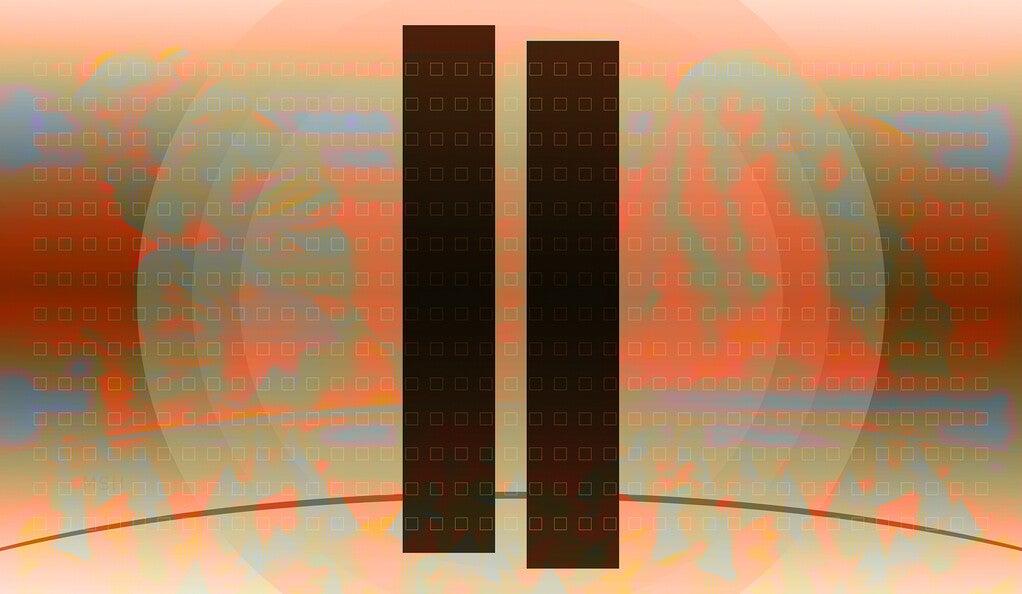 Symbolic illustration of the World Trade Center towers.
