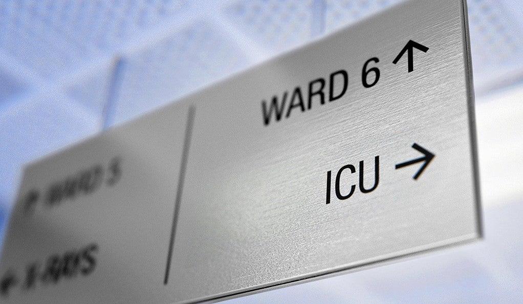 A hospital ICU sign