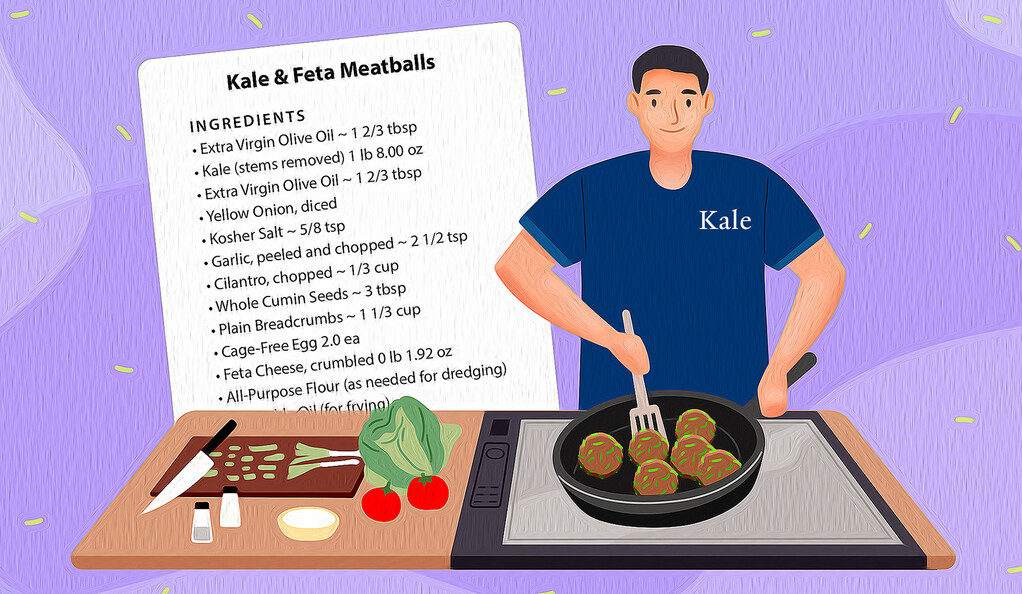 Illustration off a person cooking kale meatballs in a pan, with the recipe card.