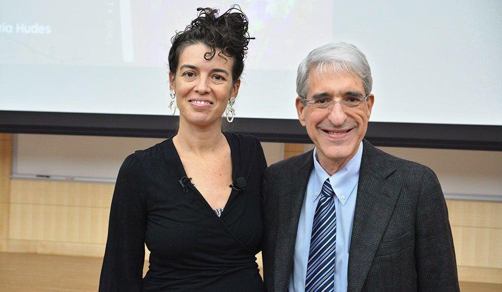 Quíara Alegría Hudes and President Peter Salovey