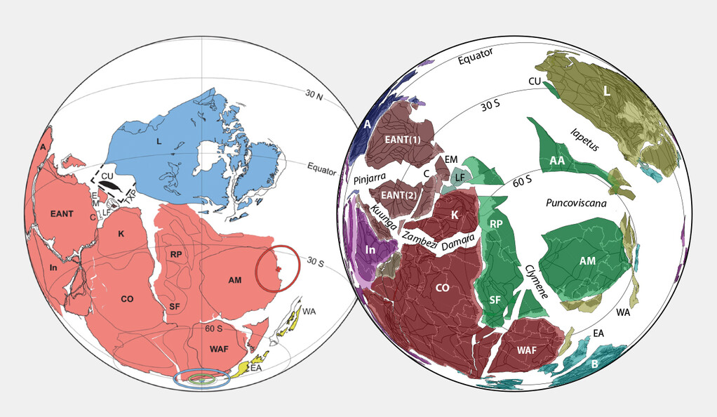 In this illustration, the left side shows the existence of the supercontinent Pannotia; the right side shows several continents