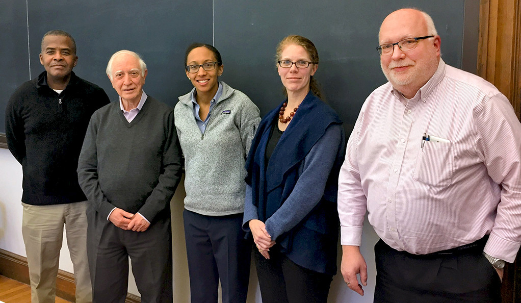 Brooke Russell, center, with her thesis committee at Yale