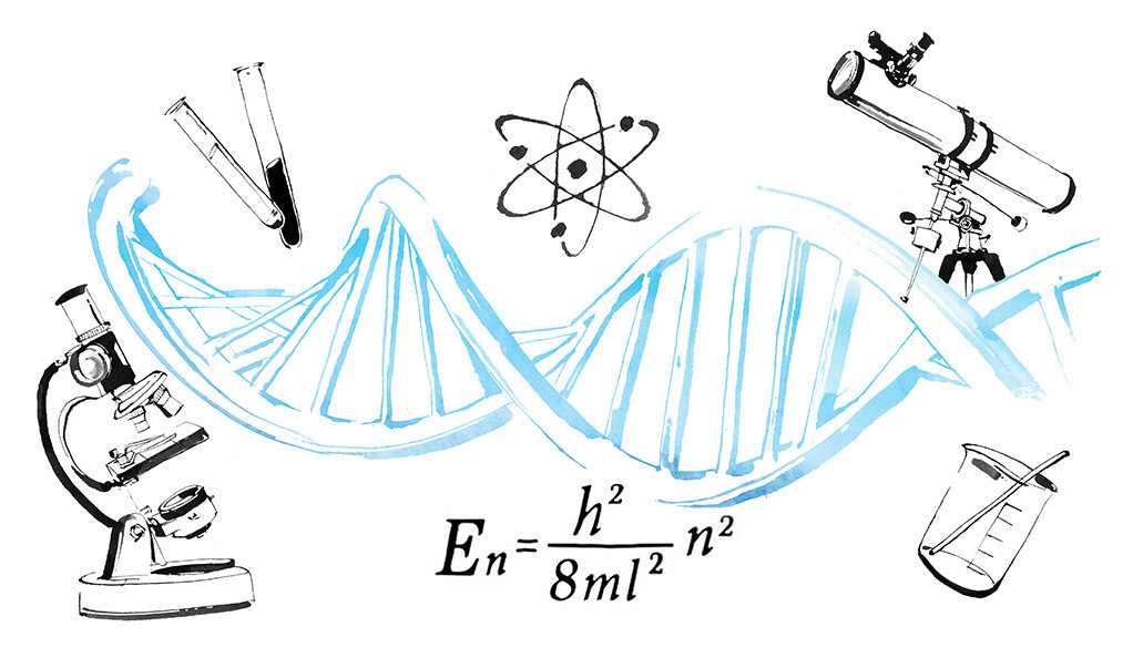Illustration of DNA helix and scientific equipment.