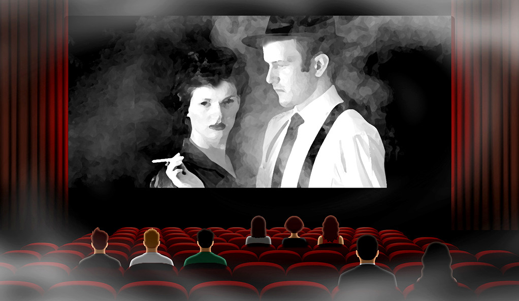 Moviegoers watch characters smoke in a smoky movie theatre