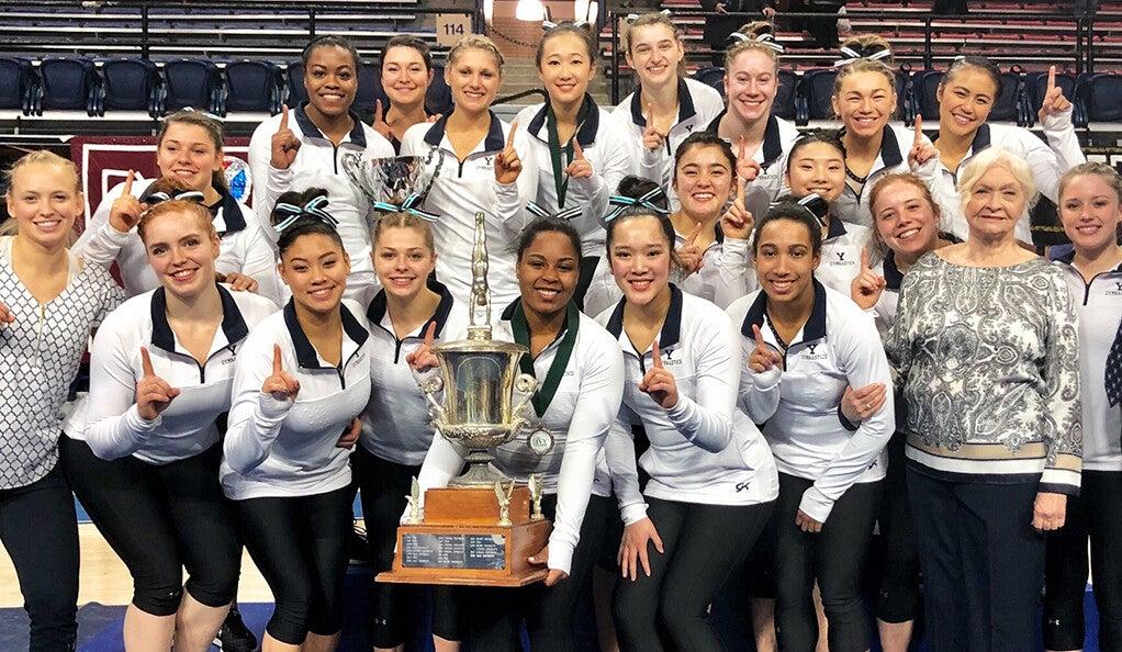 Barbara Tonry (far right) with the women's gymnastics team.