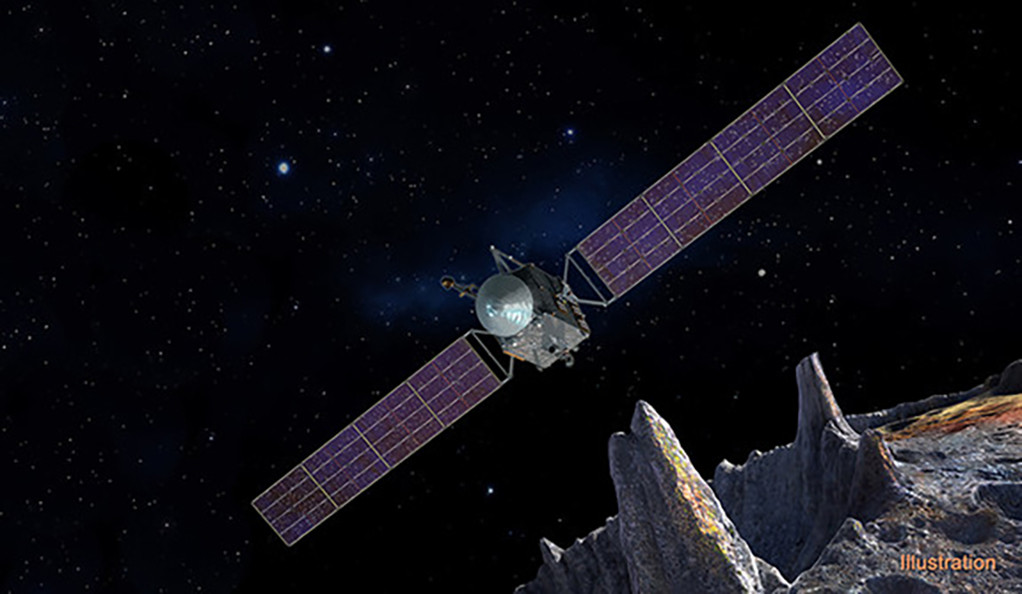 Artist's concept of the Psyche spacecraft, which will conduct a direct exploration of an asteroid.
