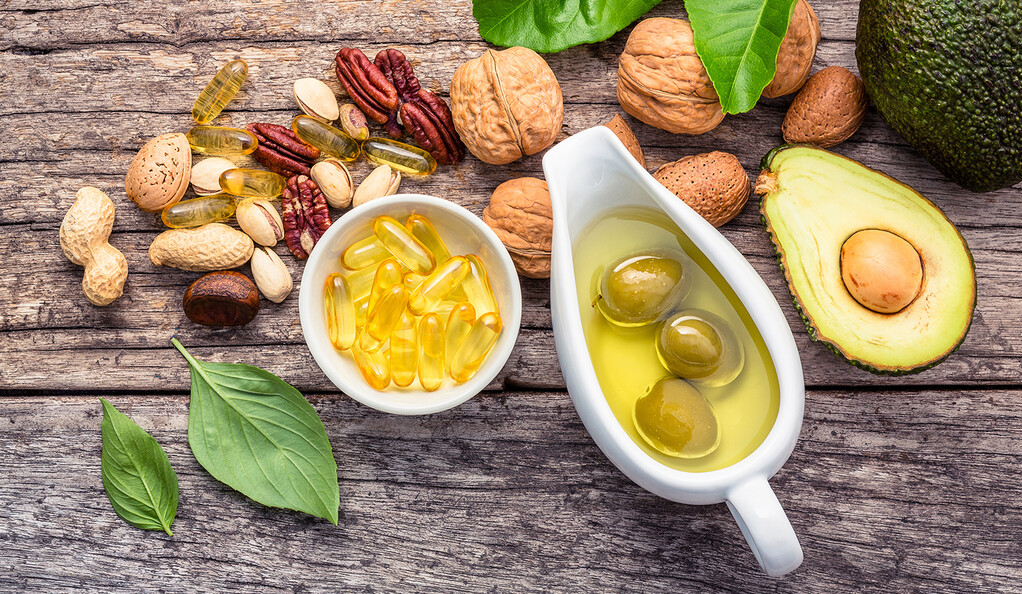 Olive oil, nuts, and avocados.