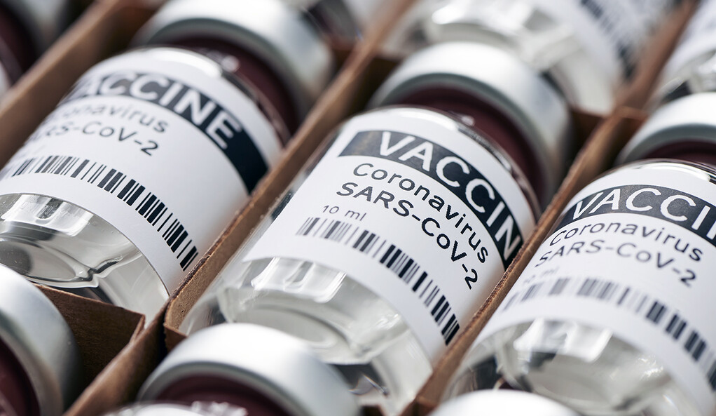 COVID-19 vaccine in shipping packs.