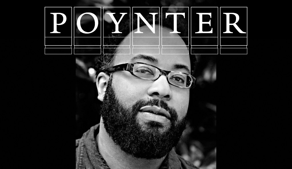 Poet Kevin Young with the Poynter Fellowship logo.