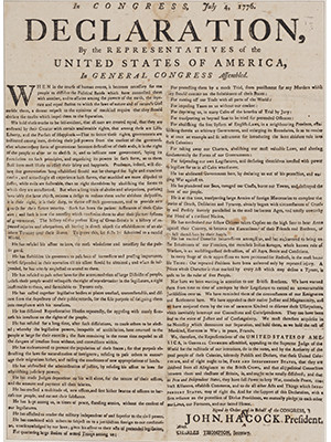 """An early edition of the Declaration of Independence from Boston, originally printed with a missing """"n"""" in """"Hancock."""""""