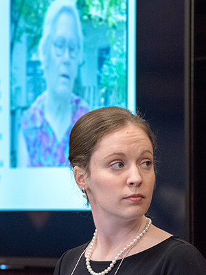 Sarah Garibova, the archive's Geoffrey Hartman Fellow, presents the testimony of Luibov' K., pictured in the background.