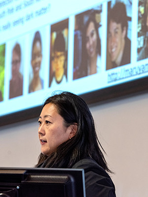 """Yale physicist Reina Maruyama presents on """"Detecting Dark Matter"""" at the Yale Day of Instrumentation."""