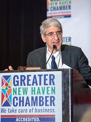 Yale President Peter Salovey delivers a speech to the Greater New Haven Chamber of Commerce