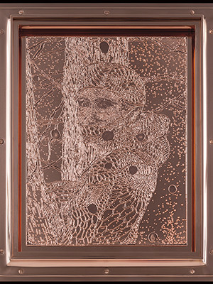 A copper engraving by Matthew Barney, depiciting the goddess Diana.