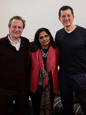 Daniel Birnbaum of Acute Art, Priyamvada Natarajan, and Sir Antony Gormley