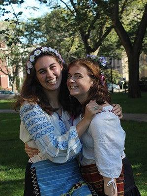 Yale Slavic Chorus members Amanda Crego-Emley '17 B.A. and Charlotte Finegold '17 B.A.