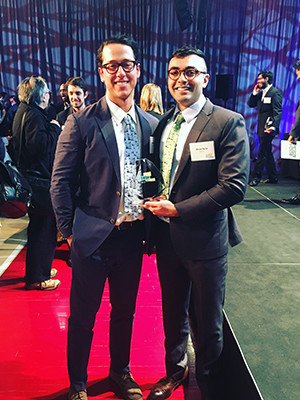 Andrew Rothaus and Dr. Abraar Karan pose with their New Venture award.
