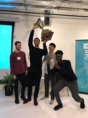 Cofounders of the startup Astorian, Aaron Resnick '18 B.S., Victor Hunt '18 B.S., Matt Kim, and Yusuf Olokoba