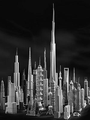 A dozen or more model skyscrapers