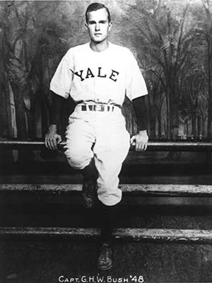 George H.W. Bush poses as captain of the 1948 Yale baseball team.