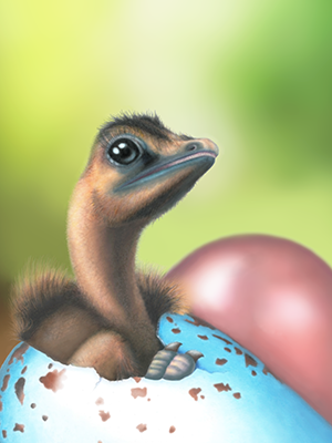 Illustration of a hatching Deinonychus chick from a blue egg with brown spots.